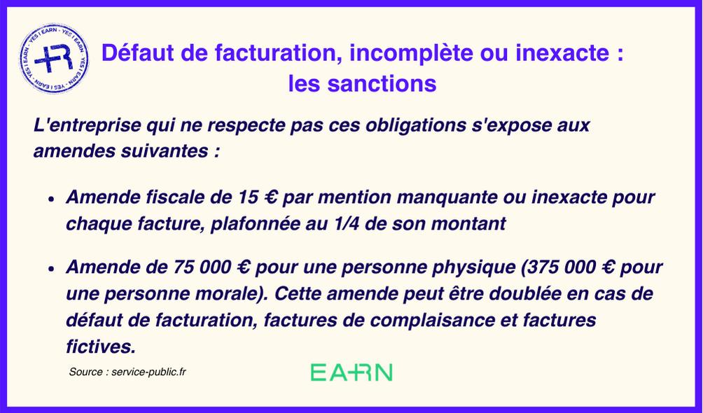 Les sanctions suite à un défaut de facturation, incomplète ou inexacte